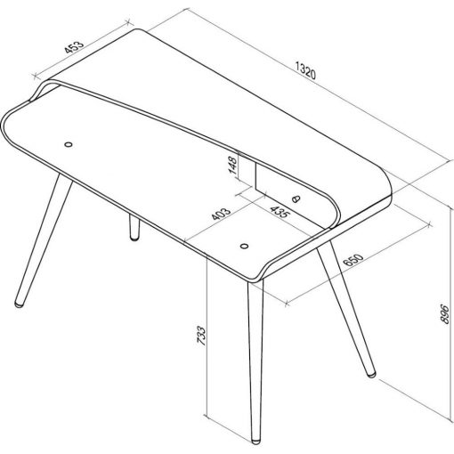 Dimensions Technical Drawing For Jual PC702 Tower Desk