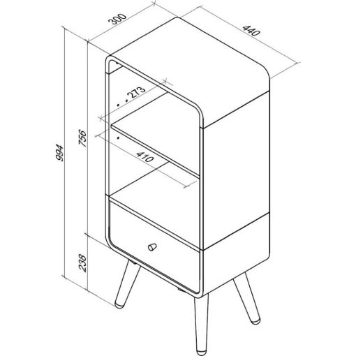 Dimensions Technical Drawing For Jual PC704 Short Bookcase