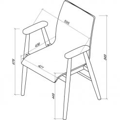 Dimensions Technical Drawing For Jual PC707 Arm Chair