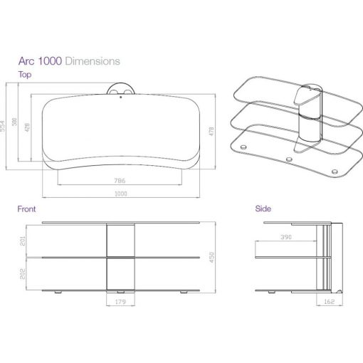 Dimensions Technical Drawing For Off The Wall Arc 1000