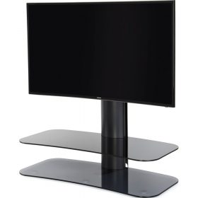 Off The Wall Arc ST 1000mm TV Stand Black Column Grey Glass