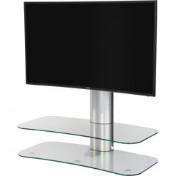 Off The Wall Arc ST 1000mm TV Stand Silver Column Clear Glass