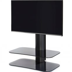 Off The Wall Arc ST 800mm TV Stand Black Column Grey Glass