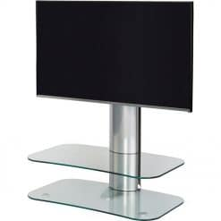 Off The Wall Arc ST 800mm TV Stand Silver Column Clear Glass