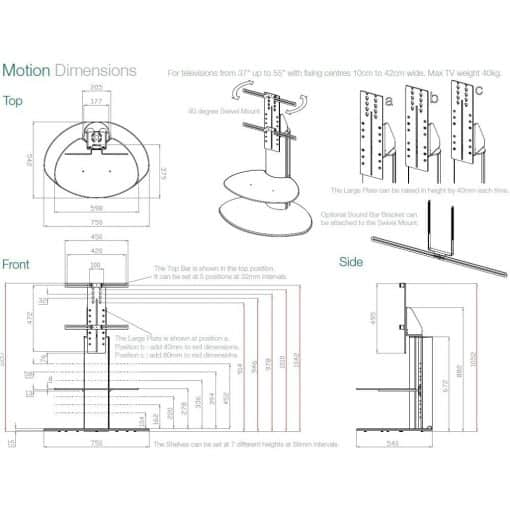Dimensions Technical Drawing For Off The Wall Motion