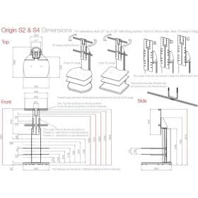 Dimensions Technical Drawing For Off The Wall Origin Ii S2 S4