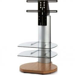 Off The Wall Origin II S3 Oak Base Small Round TV Stand Silver Column Clear Glass
