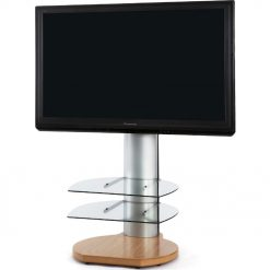 Off The Wall Origin II S4 Oak Base Large Round TV Stand Silver Column Clear Glass