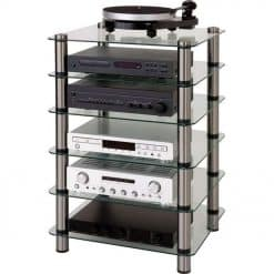 Optimum OPT-6000 Prelude Glass Hi-Fi AV Stand 6 Shelves