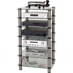 Optimum OPT-7000 Prelude 7 Shelf Tier Glass Hi-Fi AV Stand