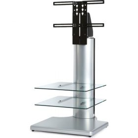 Off The Wall Origin II S1 Silver Small Square TV Stand Clear Glass