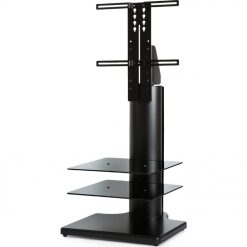 Off The Wall Origin II S2 Black Large Square TV Stand Black Glass