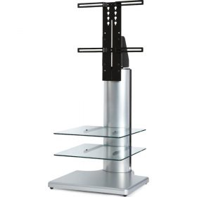 Off The Wall Origin II S2 Silver Large Square TV Stand Clear Glass