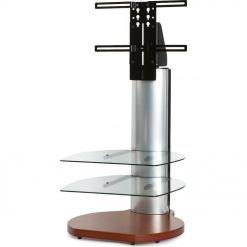 Off The Wall Origin II S3 Cherry Small Round TV Stand Silver Column Clear Glass