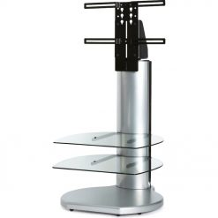 Off The Wall Origin II S3 Silver Small Round TV Stand Clear Glass