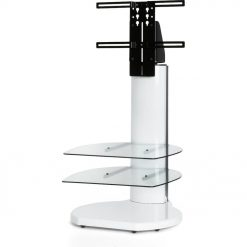 Off The Wall Origin II S3 White Small Round TV Stand Clear Glass