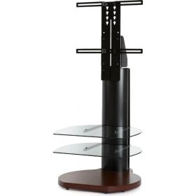 Off The Wall Origin II S4 Walnut Base Large Round TV Stand Black Column Clear Glass