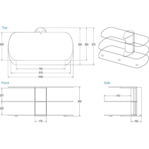 Dimensions Technical Drawing For Skyline 1000 Stand