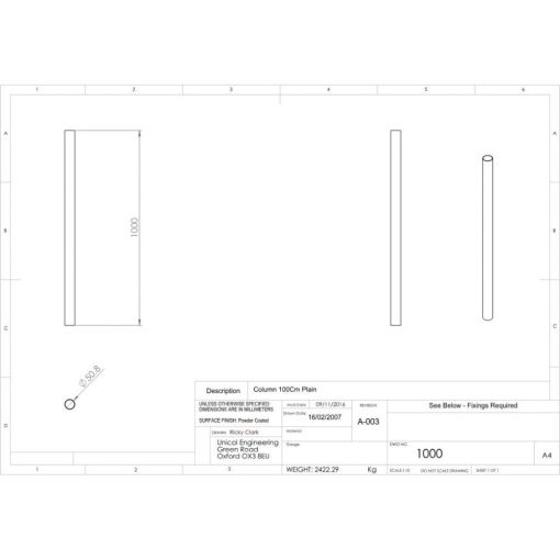 Additional Images For Unicol 1000 Standard Unicol Column 1000mm