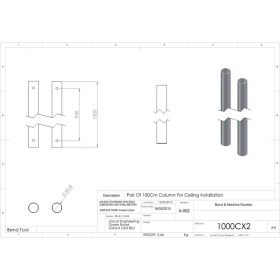 Additional Images For Unicol 1000cx2 Pair Of 100cm Column For Ceiling Installation