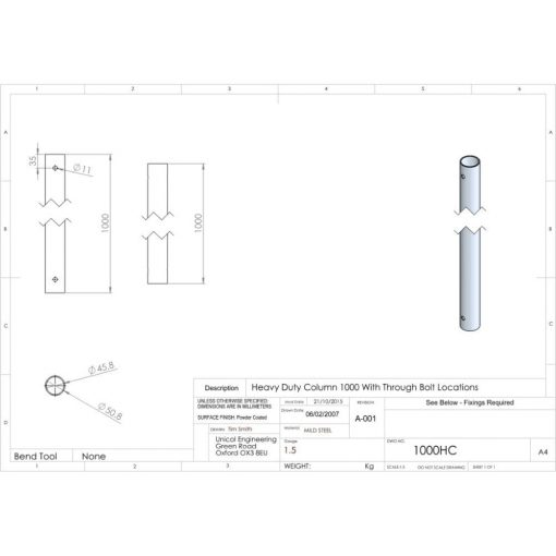 Additional Images For Unicol 1000hc 100cm Heavy Duty Column For Ceiling Installation