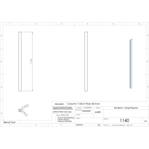 Additional Images For Unicol 1140 45 Inch 114cm Standard Column