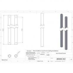 Unicol 2000CX2 Pair Of 2000mm Column For Ceiling Installation