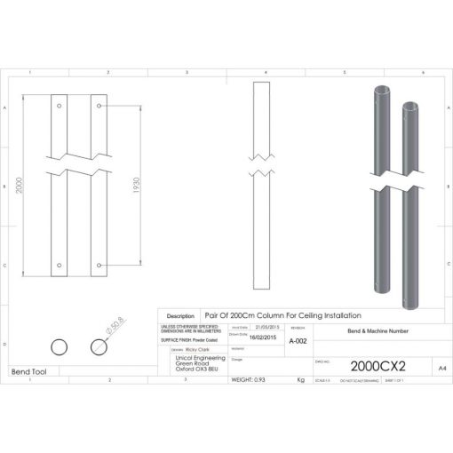 Additional Images For Unicol 2000cx2 Pair Of 2000mm Column For Ceiling Installation