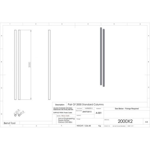 Additional Images For Unicol 2000x2 Pair Of 200cm Columns