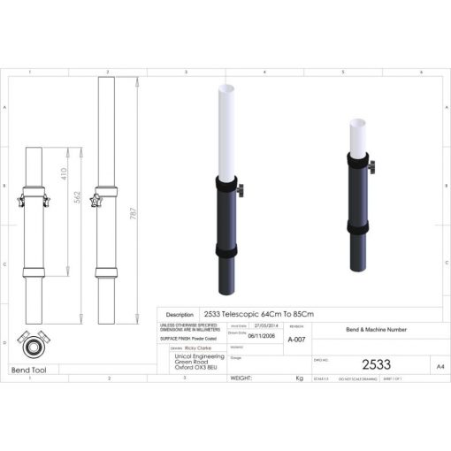 Additional Images For Unicol 2533 Telescopic Single Column 64 To 84cm