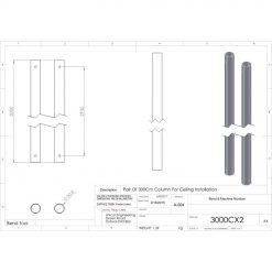 Unicol 3000CX2 Pair Of 3000mm Columns For Ceiling Installation
