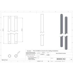 Additional Images For Unicol 3000cx2 Pair Of 3000mm Columns For Ceiling Installation