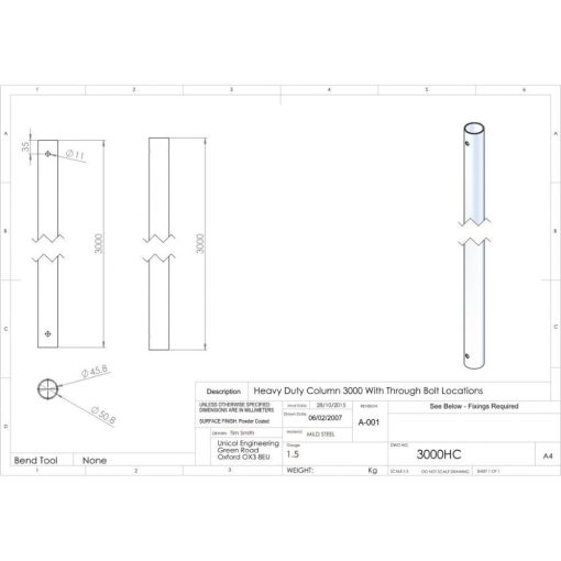 Additional Images For Unicol 3000hc 300cm Heavy Duty Column For Ceiling Installation