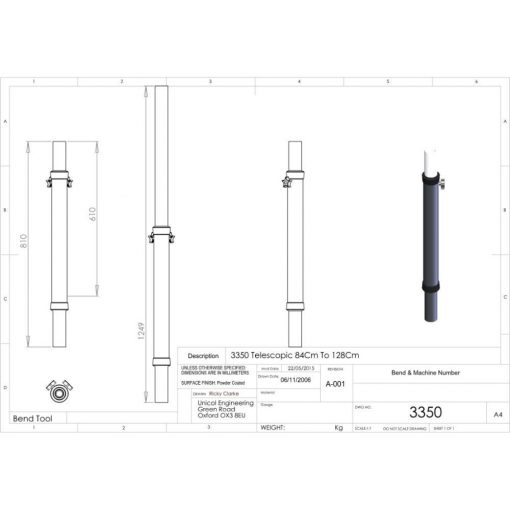 Additional Images For Unicol 3350 Telescopic Single Column 84 To 128cm