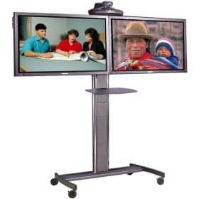 Unicol ACHT Avecta Twin TV Tall Trolley Video Conferencing Mount