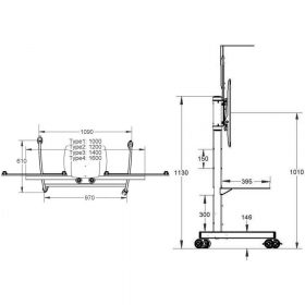 Dimensions Technical Drawing For Unicol Aclt Avecta Twin Display Trolley 100cm