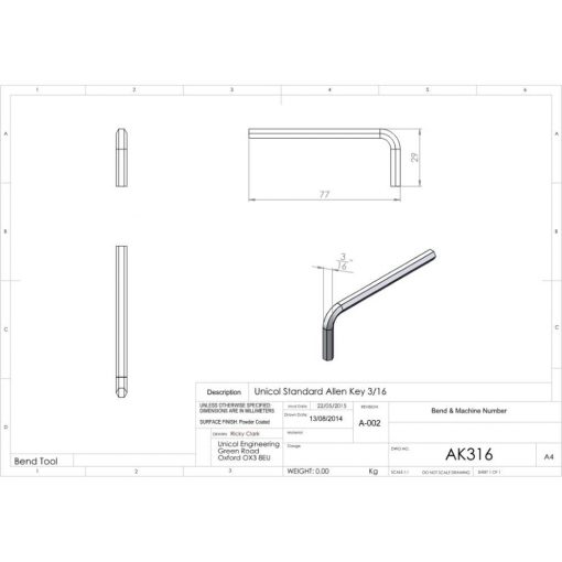 Additional Images For Unicol Ak316 Unicol Standard 3 16 Allen Key