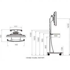 Dimensions Technical Drawing For Unicol Ax15t