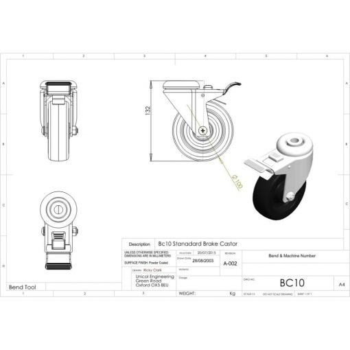 Additional Images For Unicol Bc10 10cm Heavy Duty Braked Castor