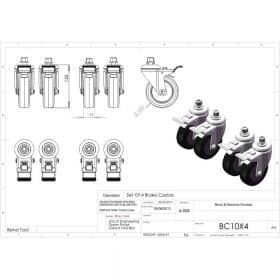 Additional Images For Unicol Bc10x4 Set Of 4 Braked 10cm Castors