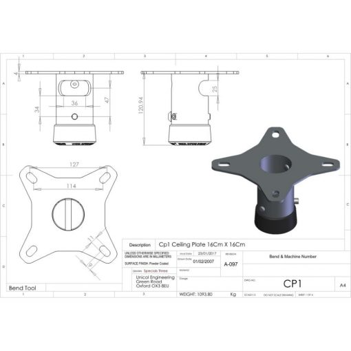 Additional Images For Unicol Cp1 Single Socket Ceiling Plate 12 X 12cm