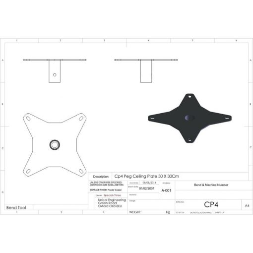 Additional Images For Unicol Cp4 Pegged Ceiling Plate 24 X 24cm