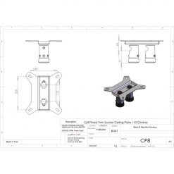 Unicol CP8 Twin Ceiling Plate - VS1000 And AV Type