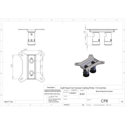 Additional Images For Unicol Cp8 Twin Ceiling Plate VS1000 And AV Type