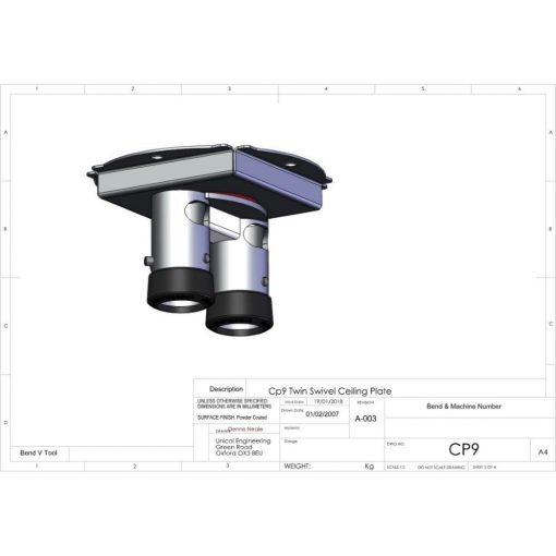 Additional Images For Unicol Cp9 Cp9 Twin SWivel Ceiling Plate 2
