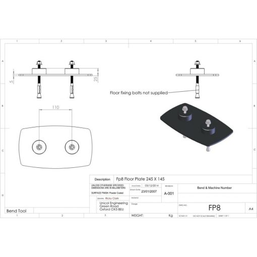 Additional Images For Unicol Fp8 Twin Column Floor Plate