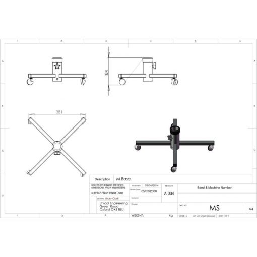 Additional Images For Unicol Ms Single Column Trolley 40 X 40cm