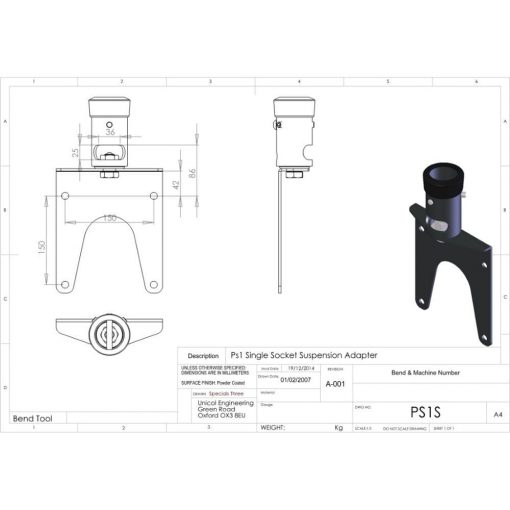 Additional Images For Unicol Ps1s Single Socket Suspension Adapter