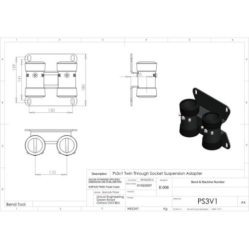 Additional Images For Unicol Ps3v1 Twin Through Socket Suspension Adapter