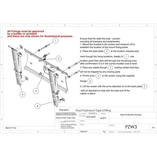 Additional Images For Unicol Pzw3 Pozimount Wall Mount 1